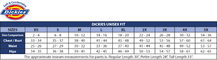Dickies Jeans Size Chart Dickies Short Sleeve Work Shirt Exact Dickies Clothing Size