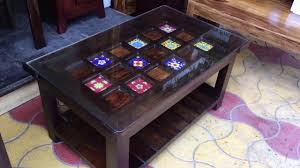 Ceramic Tiles Top   Wooden Center Table / Coffee Table With Underself.  Rightwood