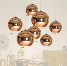 modern 7 sizes copper mirror glass ball ceiling