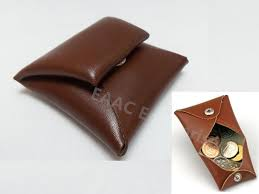 japan made genuine cattle leather coin purse pouch wallet bag brown