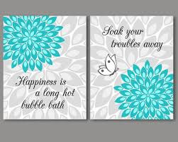 Gray doesn't have to be a background color. Turquoise And Grey Bathroom Wall Art Decor Set Of 2 Prints Etsy Turquoise Bathroom Turquoise Bathroom Decor Wall Decor Quotes