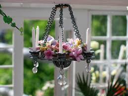 dollhouse chandelier miniature potted plants