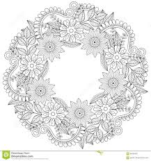 Floral Doodles Wreath In Zentangle Style Vector Circle Frame Ma