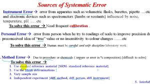 Analytical Chemistry 1 Ch5 L3 Sources Of Systematic Error