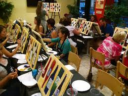 partints at paint drink dine work on paintings of wine bottles july 14 at