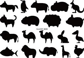 無料イラスト シンプルでかわいい動物のシルエット セット