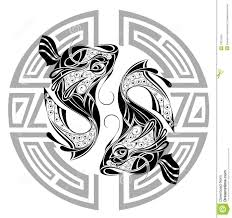 Pisces Drawing Design Zodiac Wheel With Sign Of Pisces Tattoo Design Stock Vector