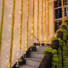 flower and fairy lights home decor ideas during wedding