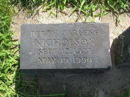 Betty Carlene Nicholson (1927-1990) - Find A Grave Memorial