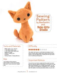 Free Stuffed Animal Patterns Impressive Sitting Kitty Cat Stuffed Animal Sewing Pattern PDF Plush Pattern
