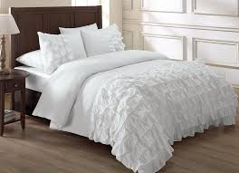 chezmoi collection ella 3 piece waterfall ruffle duvet cover set queen white