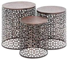metal accent table. Metal Drum Accent Table Copper Interesting Outdoor With Squares T