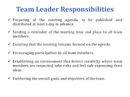 Team Leader Responsibilities Rome Fontanacountryinn Com