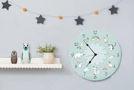kids wall clock round wooden wall clock for kids room animal wall art nursery