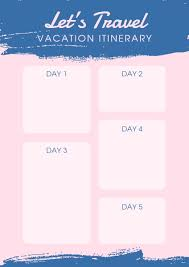 Vacation Planner Online Online Vacation Itinerary Planner Template Fotor Design Maker