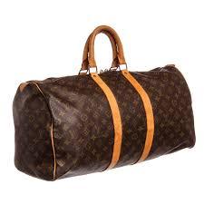 louis vuitton monogram canvas leather keepall 45 cm duffle bag luggage