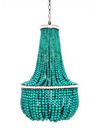 turquoise wood bead chandelier lighting wood intended for