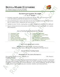 Educational Resume Examples For Elementary School Teacher With Areas
