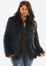 roamans womens plus size short faux fur coat