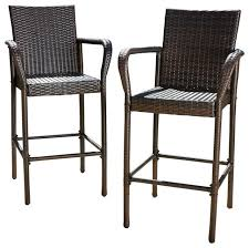 Stewart Outdoor Bar Stools Set Of 2 Brown  Contemporary Outdoor Wicker Bar Furniture