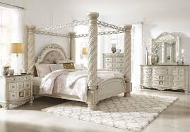 Ashley Cassimore Pearl Silver 9 Pc. Dresser, Mirror, California King Upholstered Poster Canopy Bed & 2 Nightstands