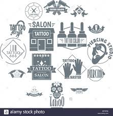 Tattoo Logo Icons Set Simple Style Stock Vector Art Illustration