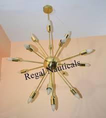 Mid Century Messing Sputnik Kronleuchter 17 Arme Moderne