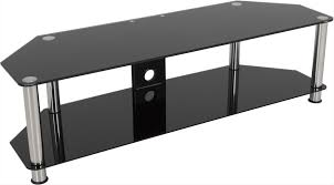 avf universal black glass and chrome legs tv stand for up to 65 tvs