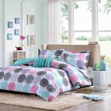 modern cute fun blue aqua teal pink purple green polka dot girl comforter set
