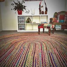 chindi jute indian design recycled floor rug oval large