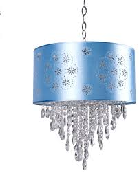 1 light crystal pendant light in chrome finish with baby blue shade and crystal