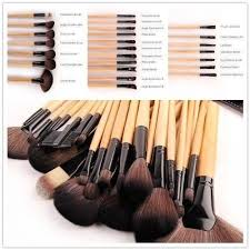 lydia uk stock professional 24pcs natural wooden handle black brown make up brush set with case amazon co uk beauty