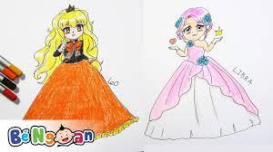 Hướng Dẫn Bé Tập Vẽ Và Tô Màu Công Chúa Cung Sư Tử Và Cung Thiên Bình ~  Drawing Leo and Libra Prince - YouTube
