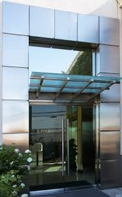 exterior door frame no 6709 50 with entry cover and stainless steel facade