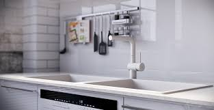 High Gloss White Kitchen Rip3d Industrial Loft High Gloss White Kitchen Island Splash Back