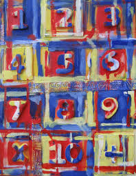 jasper johns inspired project sample with dollar numbers middle school high school painting