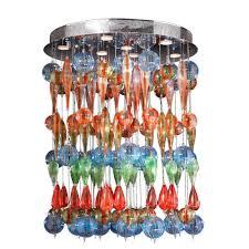 worldwide lighting niagara collection 9 light chrome and multi color blown glass bubble flush