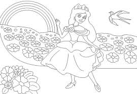 Small Picture The Princess and the Rainbow Coloring Page Download Print