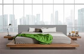 Japanese Style Platform Bed Frame Wenge Walnut Black Glossy