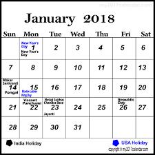 january printable calendar 2018 with holidays printable monthly