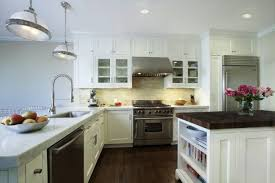 Painting Over Kitchen Cabinets Painted White Kitchen Cabinets White Shade Pendant Lamps Over