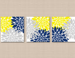 >yellow navy blue gray floral wall art gray navy yellow wall