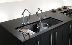 a undermount sink made out of stainless steel with two pull out spray taps pros