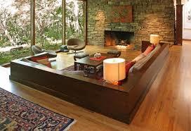 Modern Living Room With Stone Fireplace, Mossy Creek / Ledge Stone, Sunken Living  Room