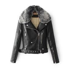 fashion fur collar basic women jacket thicken outerwear coats black faux leather coat female winter pu leather jacket womens