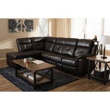 faux leather sectional. Roland 2pcs Dark Brown Faux Leather Sectional W/Recliner \u0026 Storage Chaise