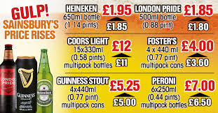 Coors Light Prices Uk Sainsburys Increases Price Of 150 Beers And Ciders By Up To