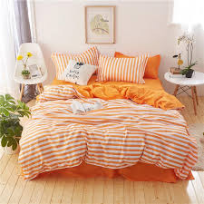 stripe white orange bedding set duvet cover pillowcases bed sheet bed linen twin queen king size high quality bedclothes for bedding contemporary duvet