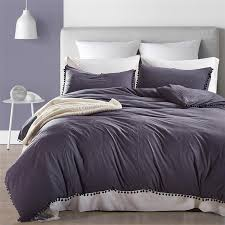dark grey washed solid color bedding set duvet cover set pillowcase korean style fluffies fringe twin queen king size soft linen duvet duvet comforter from