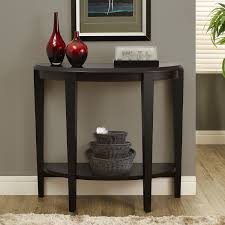 black hall console table. Black Halfmoon Entryway Table With One Shelf Baskets And Red Vases Frame Near Fur Hall Console